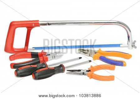 collection of hand tools isolated on white