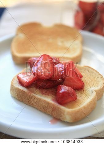 Toast With Macerated Strawberries