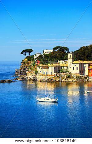 Sestri Levante silence bay or Baia del Silenzio sea harbor and and trees on the rocks on morning. Liguria Italy. poster