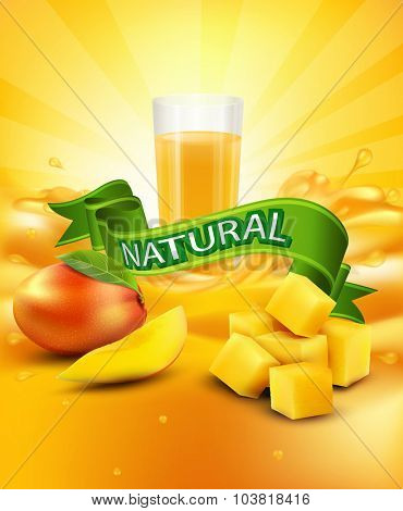 vector background with mango, a glass of juice, slices of mango, green ribbon
