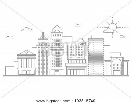 Big city business center skyscrapers megapolis buildings in linear flat design concept real estate a