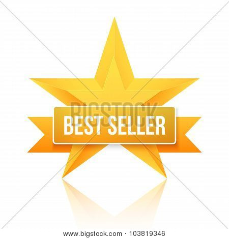 Best Seller Gold Star Vector Background. Five Stars Top Rating I