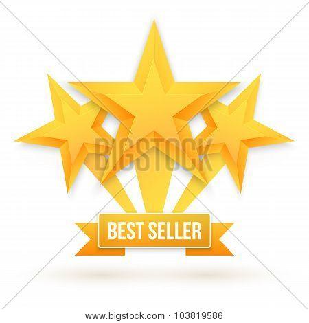 Best Seller Gold Star Vector Background. Five Stars Top Rating I