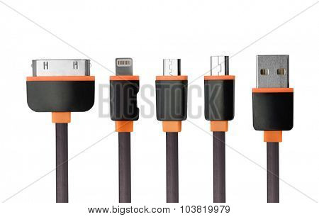 USB charger cable connectors set isolated on white