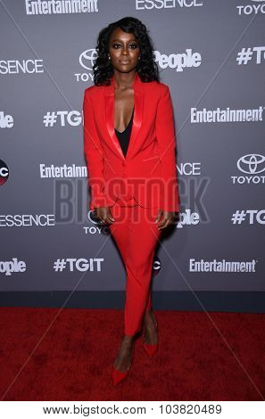 LOS ANGELES - SEP 26:  Aja Naomi King arrives to the TGIT Premiere Red Carpet Event  on September 26, 2015 in Hollywood, CA.