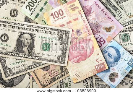 Dollar and Mexican Peso Bills