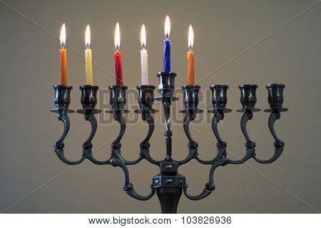 Hanukkah Menorah On The Fifth Day Of Hanukkah