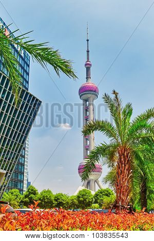 Oriental Pearl Tower On  Blue Sky Background.