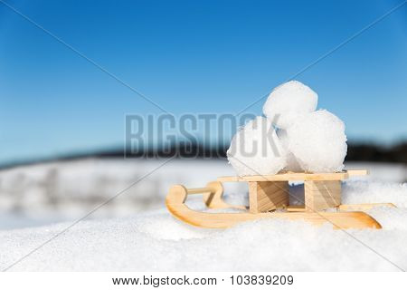 Little Sledge With Snowballs In The Snow, Blue Sky