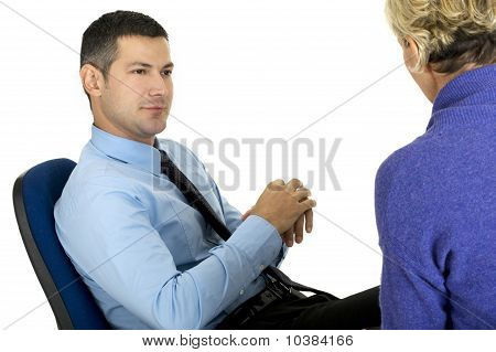 business meeting  isolated on white background psychiatrist with patient