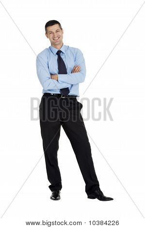 businessman with arms folded  isolated on white background
