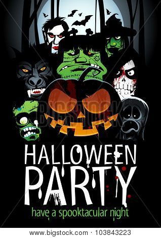 Halloween party design with  pumpkin, zombie, werewolf, death, witch, vampire and ghost against night forest.