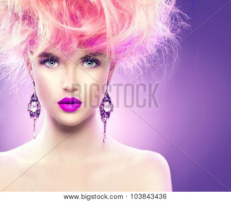 High Fashion Model Girl with pink color Updo hairstyle and bright make up. Beauty woman with glamour hairdo hair style, stylish makeup and accessories. Beauty Lady portrait poster