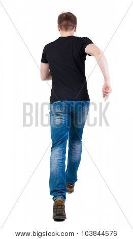 Back view of running man in brown shirt. Walking guy in motion. Rear view people collection. Backside view of person. Isolated over white background. Man escapes strides.