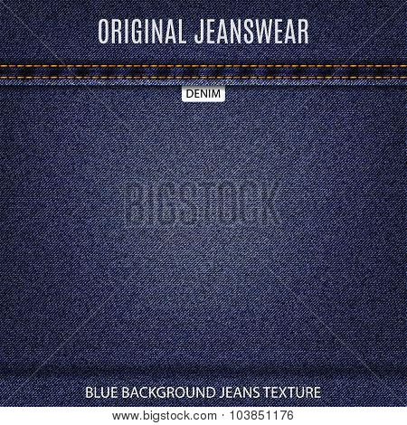 Eans Blue Texture Denim Background. Stock Vector Illustration Eps10