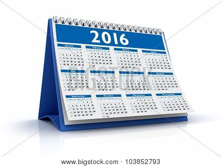Desktop Calendar 2016 Isolated
