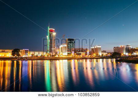 Night View Of Pobediteley Avenue in district Nemiga in Minsk, Be