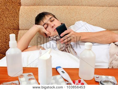 Sick Young Man With The Phone