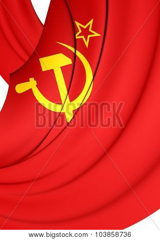 3D Flag of the Soviet Union (1923-1955). Close Up. poster