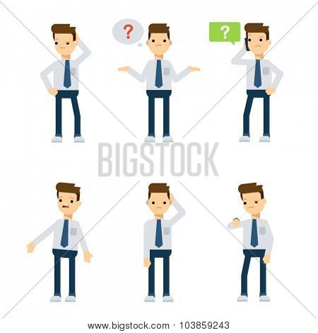 Set of vector flat style characters: office guy being confused.
