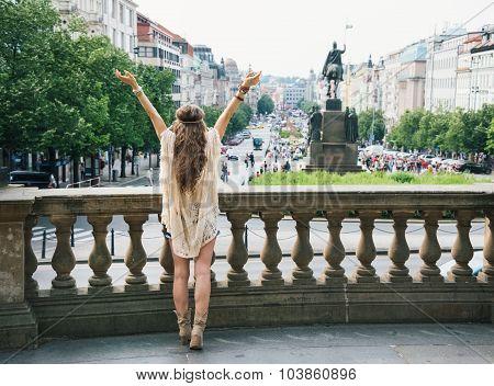 Seen From Behind, Hippy-looking Woman On Saint Wenceslas, Prague