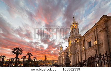 The Cathedral Of Arequipa, Peru, At Dusk