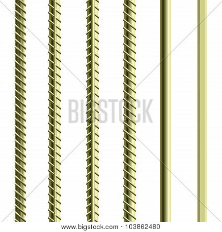 Rebars, Reinforcement Steel Isolated on White Background. Construction Metal Armature. poster