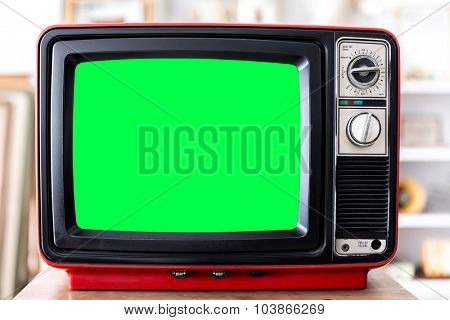 Vintage Red Television TV set with clipping path on screen