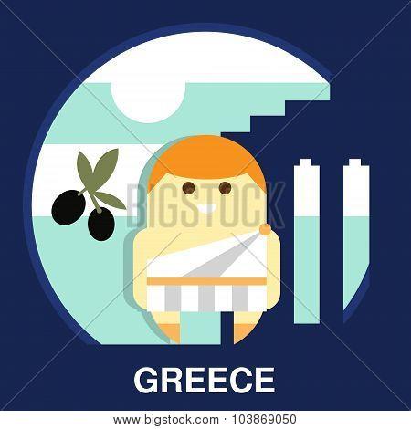 Greek Resident in Vector Illustration