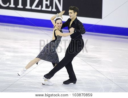 BARCELONA - DEC, 11: Betina Popova and Yuri Vlasenko from Russia during Junior Pairs Ice Dance event of ISU Grand Prix of Figure Skating Final 2014 at CCIB on December 11, 2014 in Barcelona, Spain
