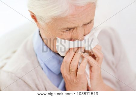 health care, flu, hygiene, age and people concept - sick senior woman blowing nose to paper napkin at home poster