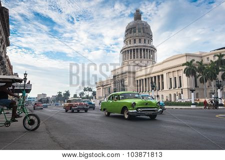 Classic American Car And Capitolio Landmark In Havana,cuba