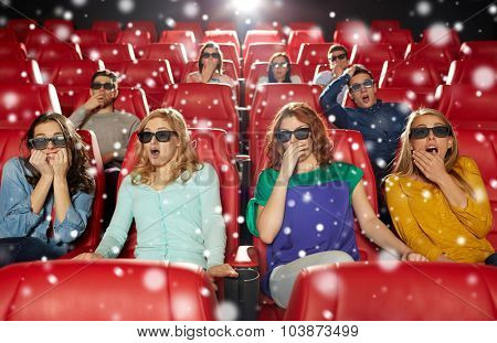 cinema, technology, entertainment and people concept - friends with 3d glasses watching horror or thriller movie in theater over snowflakes