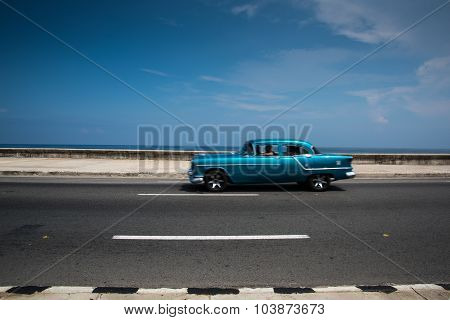 Classic American Car On Street Of Havana In Cuba