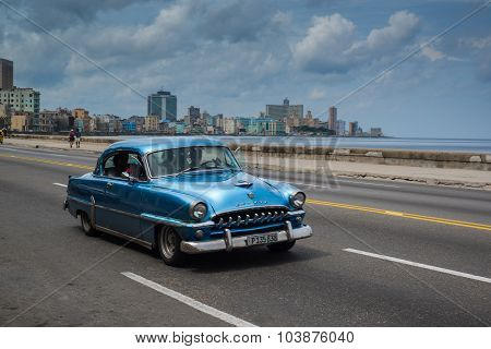Classic American Car Drive On Street In Havana,cuba