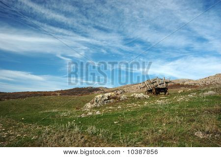 Rural Landscape With Old Wooden Carriage (cart)