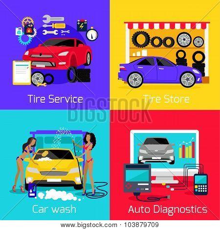 Services Car Washing Diagnostics Tire
