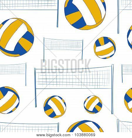 Seamless texture with volleyballs and a network poster