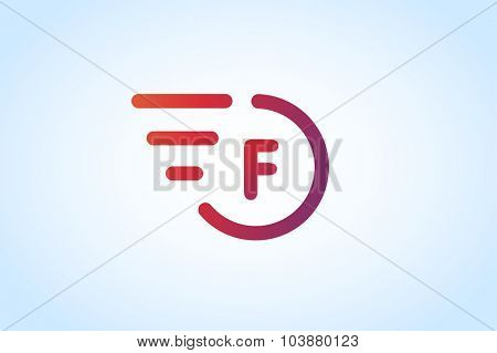Fast line F letter logo monogram. F and lines monogram. Vector F line letter. F letter design. Abstract F letter. Motion lines. F line symbol. Thin line style. Transport delivery F motion icon
