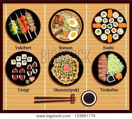 Japanese Cuisine Set Dishes Flat Style