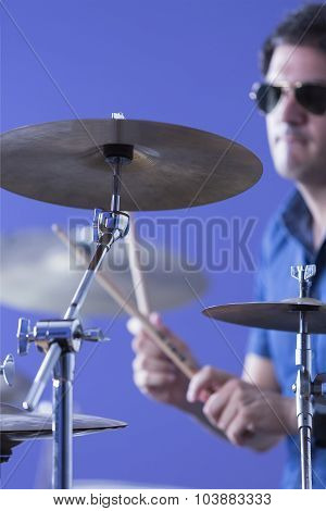 Musician Playing Cymbals