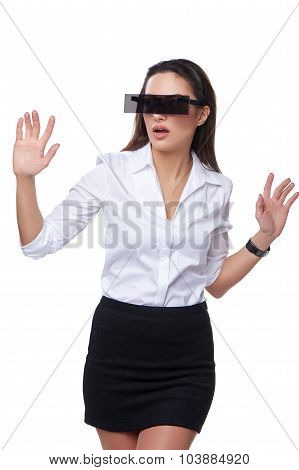 Beautiful business woman with futuristic glasses