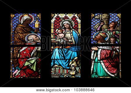 ZAGREB, CROATIA - NOVEMBER 21: Nativity Scene, Adoration of the Magi, stained glass window in parish church of Saint Mark in Zagreb, Croatia on November 21, 2014