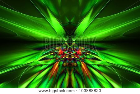 Shining a fantastic green line in a furious motion symmetrically go beyond the horizon. Fractal art graphics poster