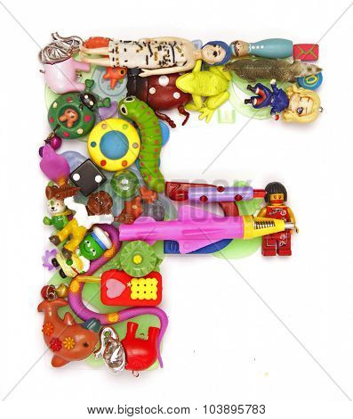 the letter F made from small toys
