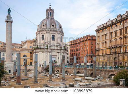 Trajan Column And Santa Maria Di Loreto Church