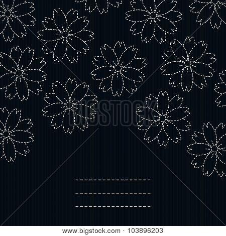 Japanese fancywork. Sashiko card. Sakura flowers.
