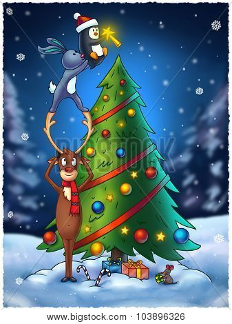 Animals Decorating A Christmas Tree - Digital Painting Illustration
