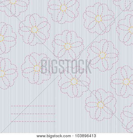 Japanese quilting. Sashiko banner. Sakura flowers.