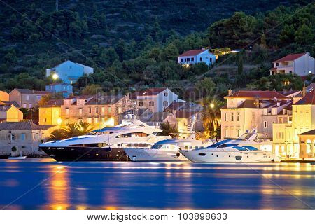 Luxury Yachts In Town Of Vis Waterfront